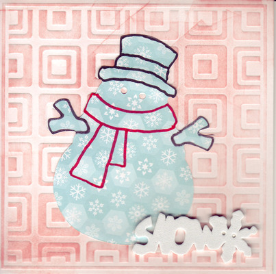 099 - 'Snow' with snowman on embossed card