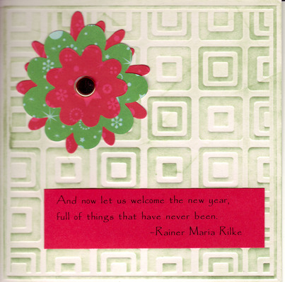 102 - Rilke New Year saying with flower on embossed card