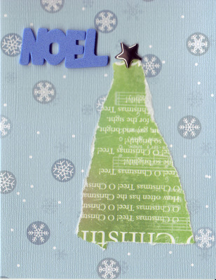 104 - Blue 'Noel' with chritstmas tree on show patterned card