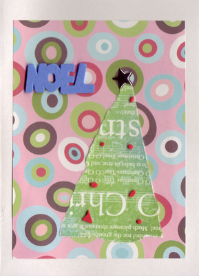 108 - Blue 'Noel' with christmas tree on retro paper