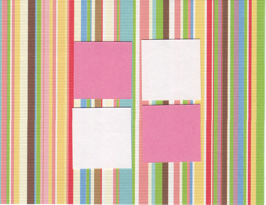 106 - Spring- Gorgeous striped textured paper w. 4 windows
