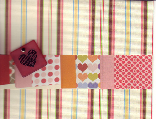 (SOLD)129 - Heart block with striped paper