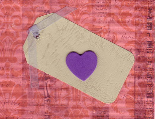 (SOLD) 136 - Raised heart on romantic paper