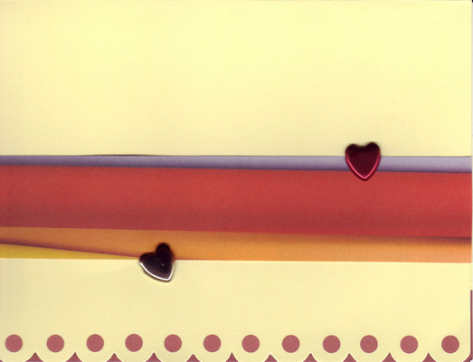 140 - Raised hearts on scallopped edge cards with colored sash