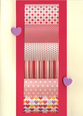 (SOLD)142 - Raised hearts on pink and red patterned paper