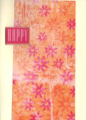 (SOLD)153 - 'Happy' on complex floral paper
