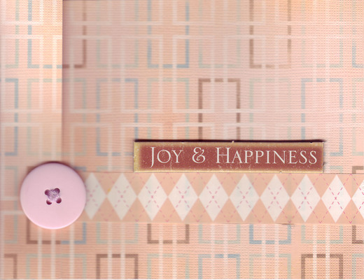 (SOLD) 156 - 'Joy & Happiness' w. pink button