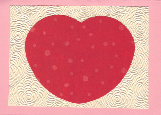 (SOLD)167 - Red heart on beautiful floral textured paper