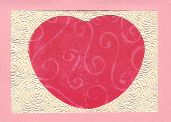 (SOLD)168 - Interlocking red heart on beautiful floral textured paper