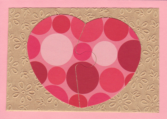 (SOLD)169 - Interlocking dotted red heart on beautiful floral textured paper
