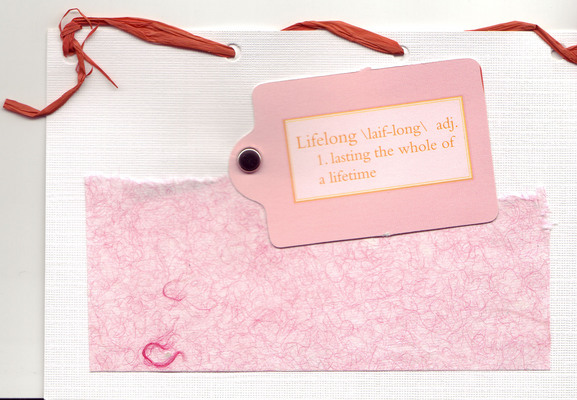 172 - 'Lifelong' with pink textured paper and red lace top