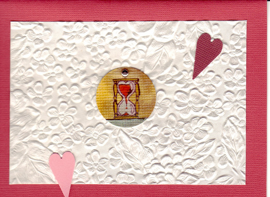 174 - Beautiful floral textured paper with heart hourglass embellishments