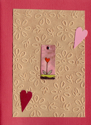 175 - Beautiful floral textured paper with heart plant embellishments