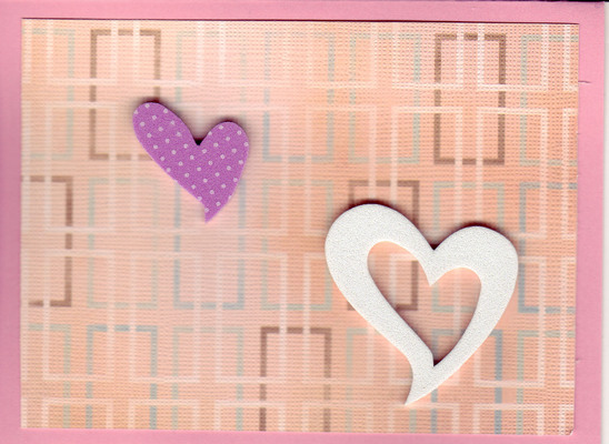(SOLD)177 - 3-D hearts on a pink background