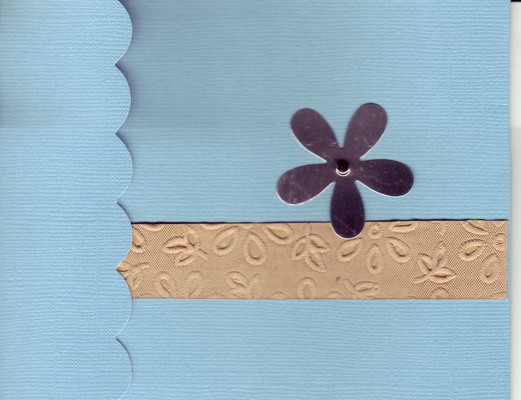 004 - Flower on blue background with floral textured band