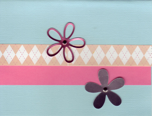 (SOLD)006 - Flowers on teal background with pink band