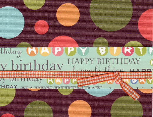 (SOLD) 011 - 'Happy Birthday' on festive polka dotted paper with ribbon