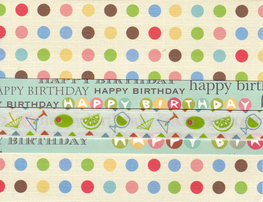 012 - 'Happy Birthday' on festive polka dotted paper with cocktail ribbon