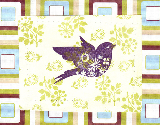 013 - Bird stamp on flower patterned card