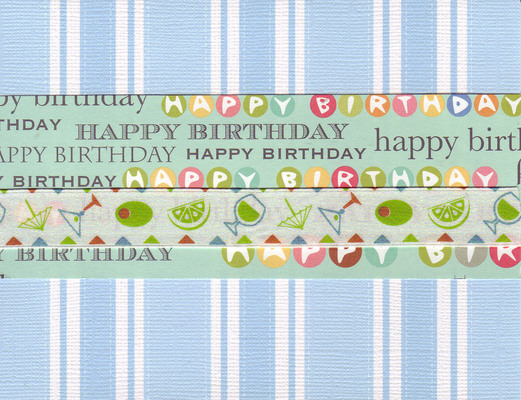 014 - 'Happy Birthday' on festive striped paper with ribbon