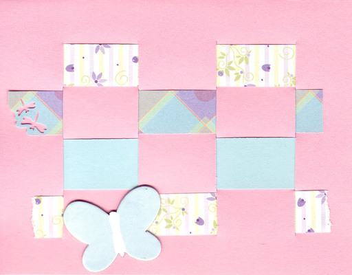 016 - Pink woven card with butterfly
