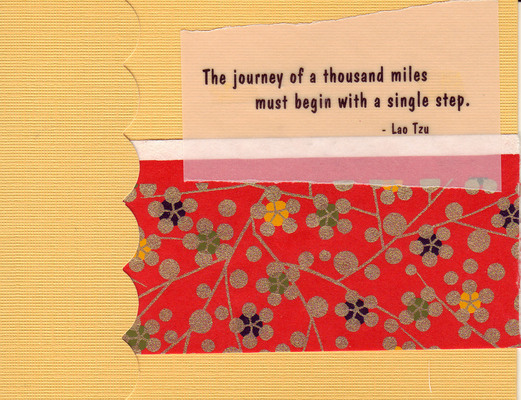 023 - 'The journey of a thousand miles must begin with a single step' with red floral paper
