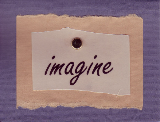 033 - 'Imagine' on purple card