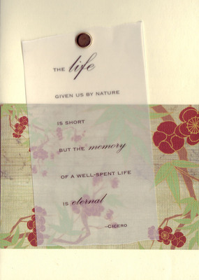 048 - 'The life given us by nature is short, but the memory of a well-spent life is eternal' On cherry-blossom paper