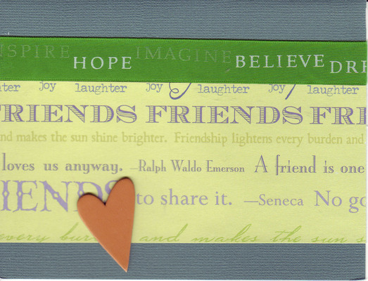 051 - 'Friends ...' with heart and 'Inspire' ribbon on blue paper