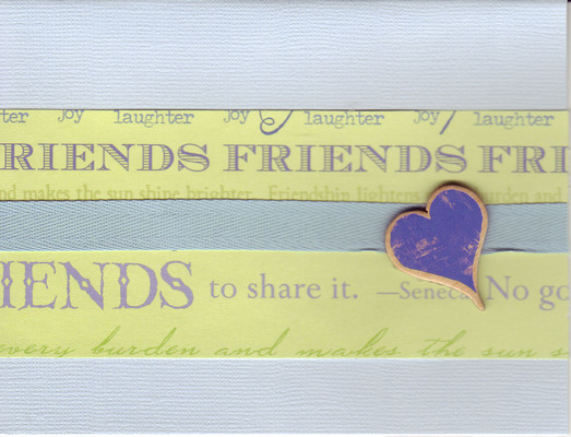 (SOLD) 052 - 'Friends ...' with heart and blue ribbon on light blue paper