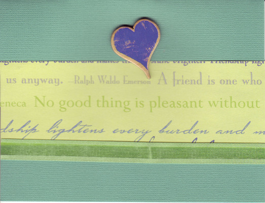 053 - 'Friends ...' with heart and green ribbon on light green paper