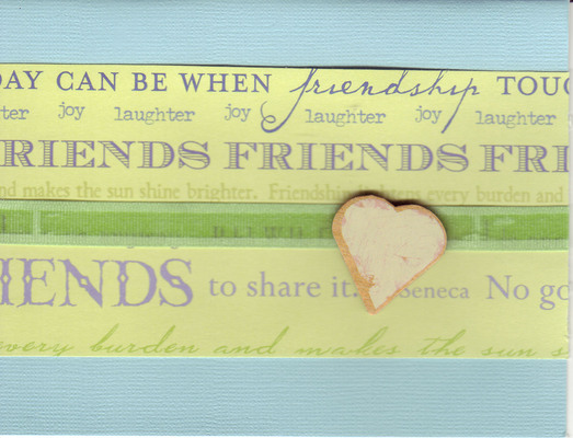 054 - 'Friends ...' with heart and green ribbon on light blue paper