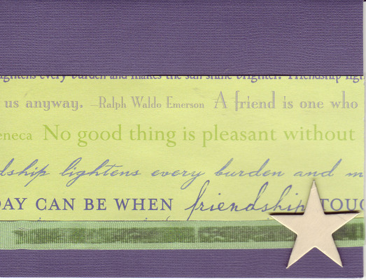 055 - 'Friends ...' with heart and green ribbon on deep purple paper