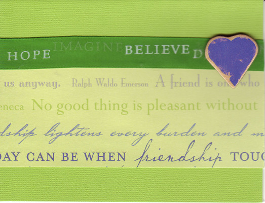 056 - 'Friends ...' with heart and green ribbon on lime green paper