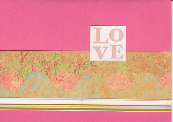 063 - (SOLD)'Love' with lush orange paper