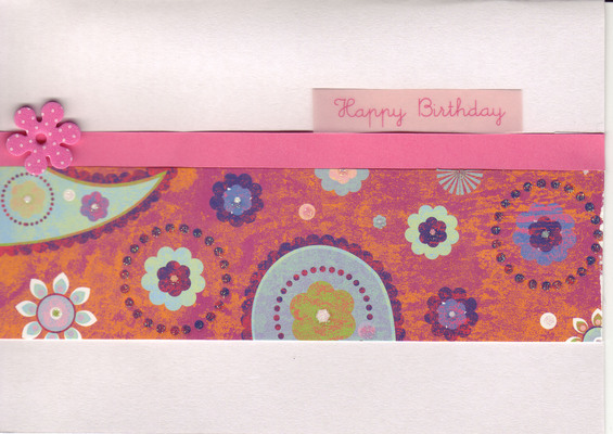 066 - 'Happy Birthday' on orange and pink pattern