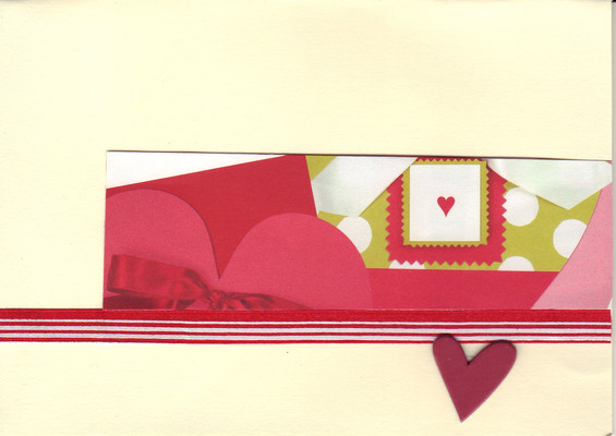 068 - Hearts with a ribbon on cream paper