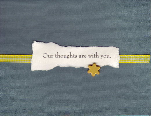 070 - 'Our thoughts are with you' on solemn charcoal with a yellow star