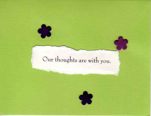 074 - 'Our thoughts are with you' on lime green with tasteful black flowers