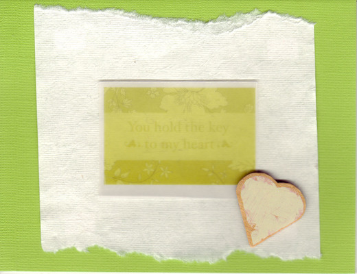 080 - 'You hold the key to my heart' on lime and white paper with a pink heart