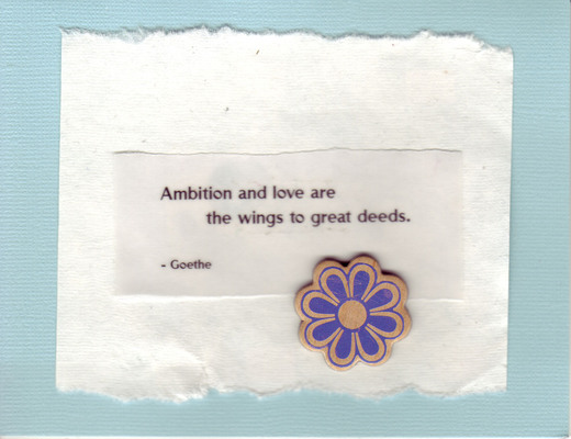 081 - 'Ambition and love are the wings to great deeds' on blue and white paper with blue heart