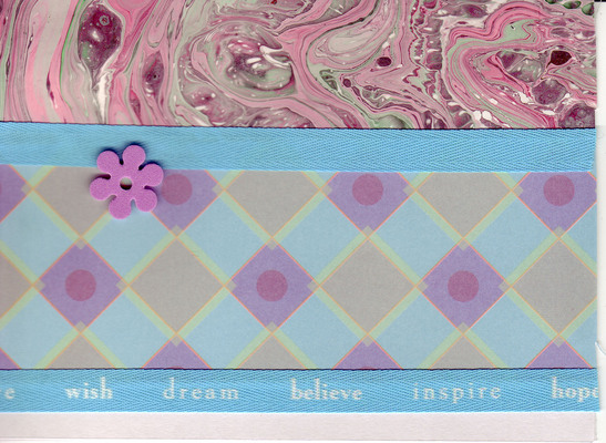 084 - 'Wish, Dream, Believe, Inspire, Hope' ribbon on marbled paper