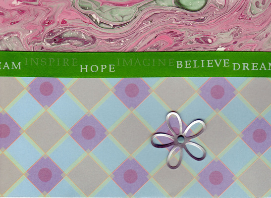085 - 'Inspire, Hope, Imagine, Believe, Dream' on marbled paper