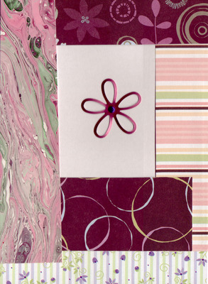 088 - Layered paper (floral, marbled, striped) with flower embellishment
