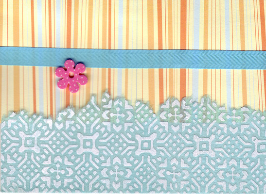097 - Orange striped paper, with blue ribon and overlaidd elegnatly patterned paper with flower embellishment