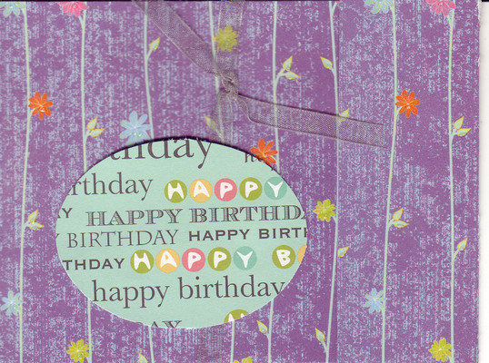 102 - (SOLD) 'Happy Birthday' on sophisticated purple floral paper with ribbon