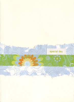 111 - 'Special Day' with layered blue and green floral paper