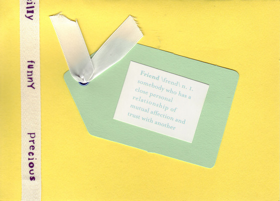 116 - 'Funny Precious' on ribbon with 'Friend' tag on yellow card