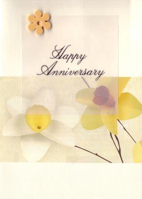 121 - 'Happy Anniversary' on vellum, overlaid on daffodil print paper