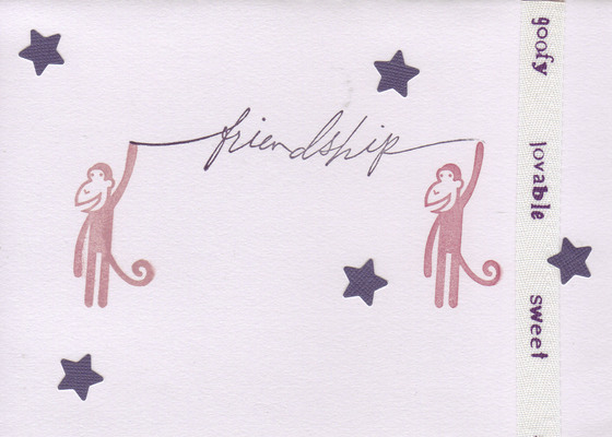 129 - 'Friendship' with monkeys and stars with 'goofy lovable sweet' ribbon